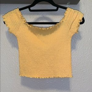 Yellow ruffle off the shoulder top